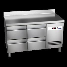 Kühltisch Ready KT2614 mit Arbeitsplatte, Aufkantung 4 halbe Schubladen - KBS